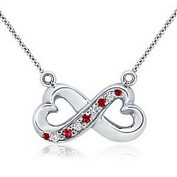 18K White Gold Ruby and Diamond Infinity Pendant