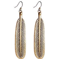 Gold Feather Oblong Earrings