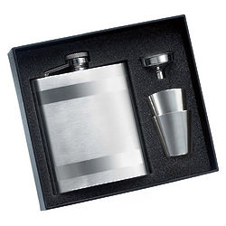 Mirror and Calendered Flask with 2 Shot Glasses
