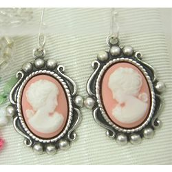 Her Majesty Silver Plated Cameo Earrings