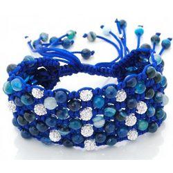 Blue Agate and CZ Beads Macrame Bracelet