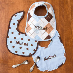 3 Personalized Little Boy Blue Bibs