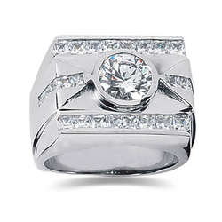 1.80 ctw Men's Diamond Ring in 18K White Gold