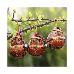'Christmas Owls' Mate Gourd Ornaments