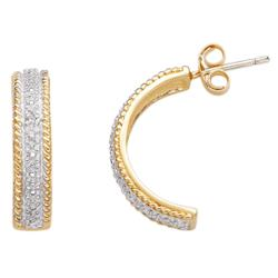 18K Gold Over Sterling Diamond Accent Half Hoop Earrings