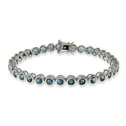 Tiffany Inspired Sapphire CZ Bezel Set Tennis Bracelet