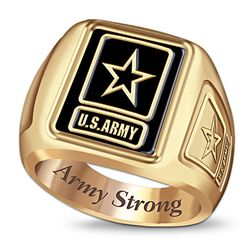 U.S. Army Men's Ring with Army Strong Engraving