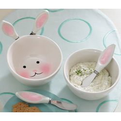 Bunny Dip Bowl and Spreaders Set