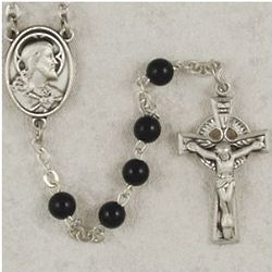 Black Glass Sterling Irish Rosary