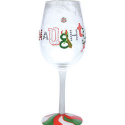 Hand-Painted Naughty or Nice Wine Glass