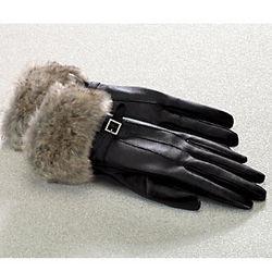 Women's Faux Fur Cuff Sheepskin Leather Gloves