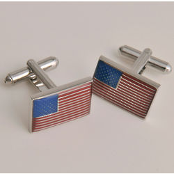 Dashing American Flag Cufflinks With Personalized Case