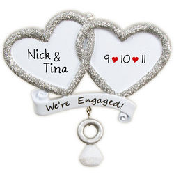 Engaged Glittered Hearts Dangling Ring Ornament