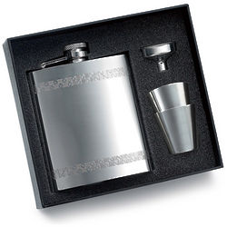 Pattern Mirror Flask with 2 Shot Glasses