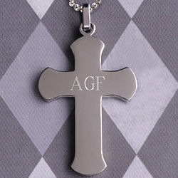 Personalized Rounded Edge Cross Necklace