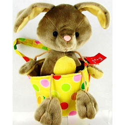 Plush Bunny in a Yellow Polka Dot Fabric Easter Basket