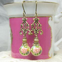 Roses on Pearl Earrings