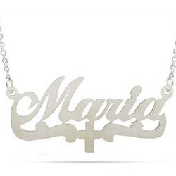 Silver Cross Nameplate Necklace