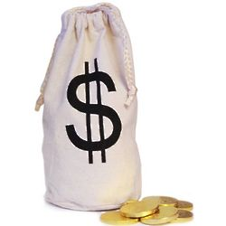 Money Muslin Sack Filled with Chocolate Gold Coins