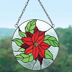 Poinsettia Stained Glass Roundel