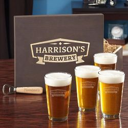 Personalize Brewery Beer Glasses and Bottle Opener Boxed Gift Set