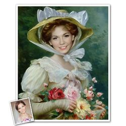 Classic Painting Elegant Lady with Roses Art Print