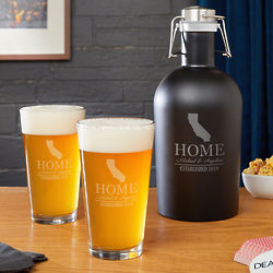 Personalized Home State Steel Growler and Pint Glasses
