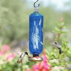 Dragonfly Filigree Blue Glass Hummingbird Feeder