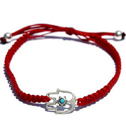 Hand Woven Hamsa Bracelet in Red