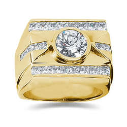 1.80 ctw Men's Diamond Ring in 18K Yellow Gold