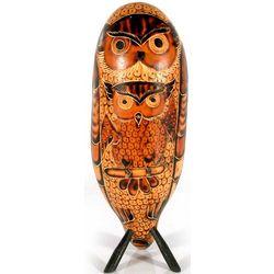 Wise Owl Desk Friend Mate Gourd Sculpture