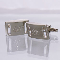 Personalized Brushed Silver Slotted Cufflinks