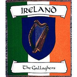 Personalized Name & Ireland Banner Harp & Irish Flag Throw