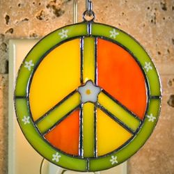 Peace Sign Stained Glass Switchable Ornament