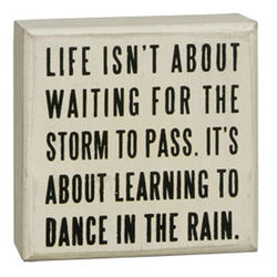 Dance in Rain White Box Sign