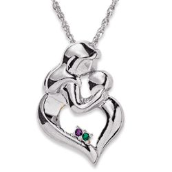 Mothers Embrace 2 Birthstone Pendant