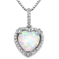 Opal and Diamond October Birthstone Heart Pendant