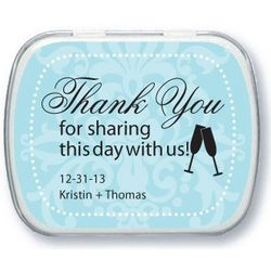 Personalized Toasting Flutes Design Mint Tins