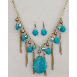 Nature Inspired Faux Stone Necklace and Earring Set
