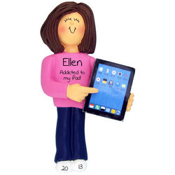 Girl with iPad Christmas Ornament