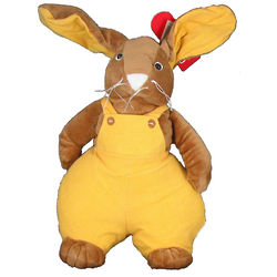 Pudgy Bunny Rabbit in Yellow Overalls Stuffed Animal
