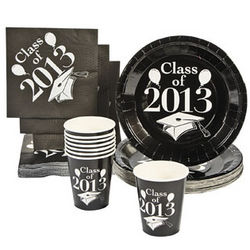 Class of 2013 Black Paper Tableware Set