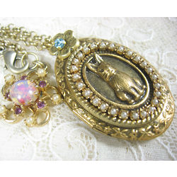 Bunny Locket with Opaleque Charm and Hidden Flower