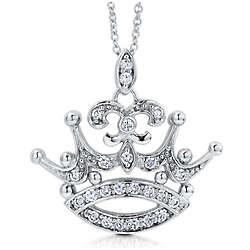 Sterling Silver Cubic Zirconia Fleur De Lis Crown Pendant