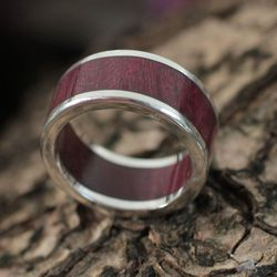 Men's Forest Road Wood and Silver Band Ring