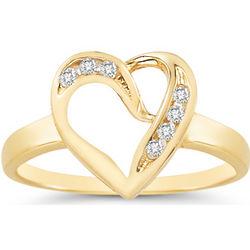 7 Stone Diamond Heart Ring in 14K Yellow Gold