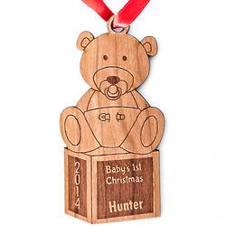Baby's 1st Christmas Wood Teddy Bear Ornament
