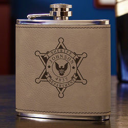 Sheriff Badge Personalized Leatherette Hip Flask