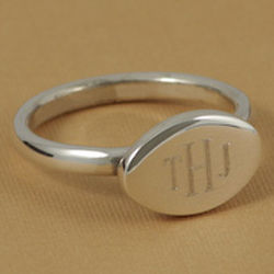Monogrammed Sterling Silver Oval Ring