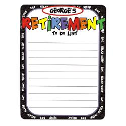 Retirement To Do List Personalized Dry Erase Board